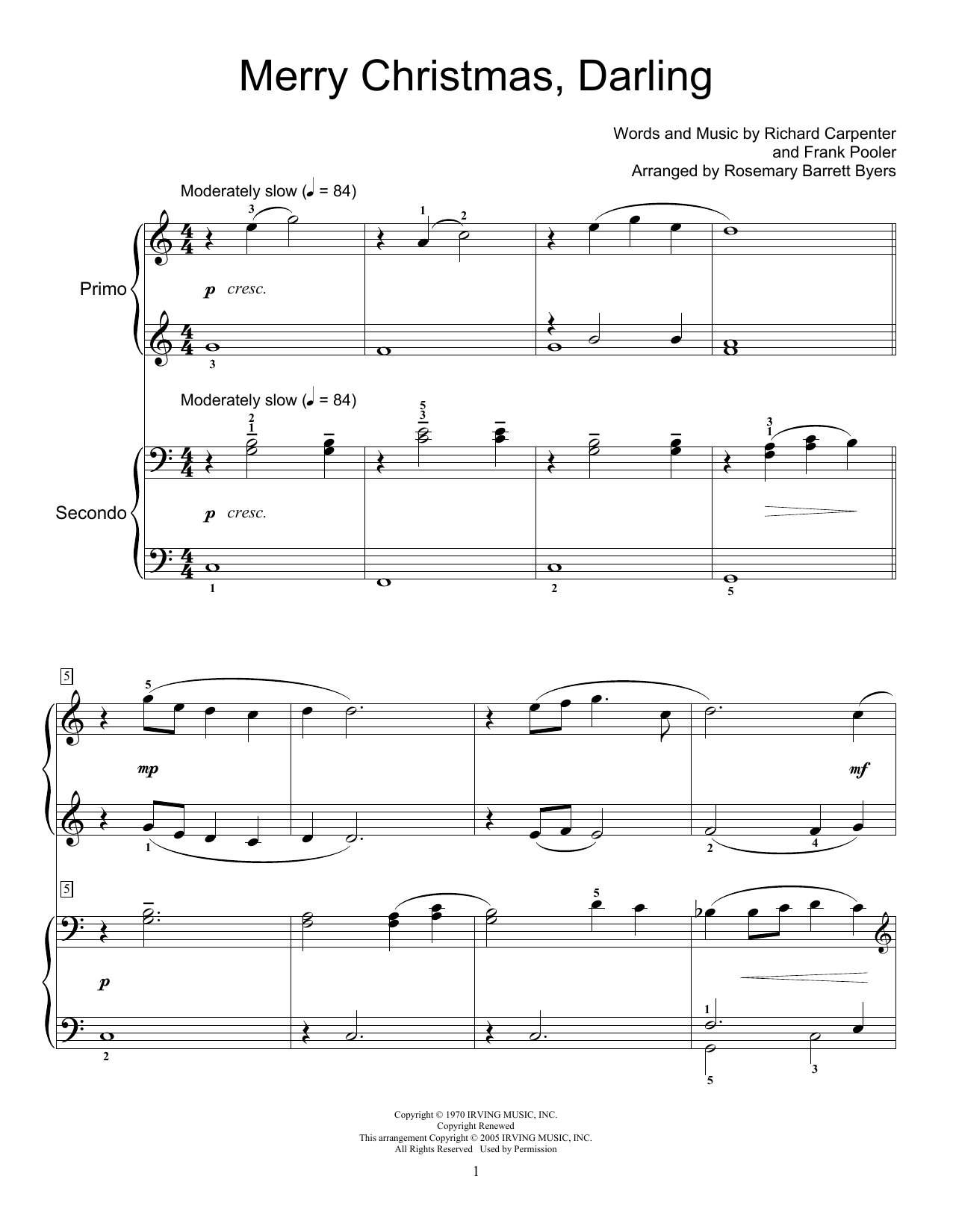Merry Christmas Darling Sheet Music