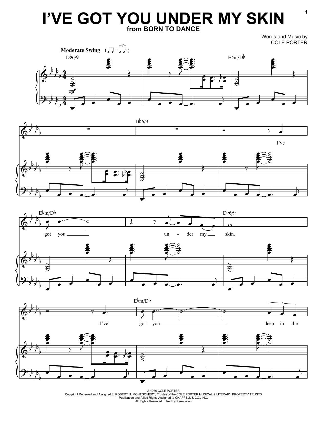 I've Got You Under My Skin : under, Under, (Piano, Vocal), Print, Sheet, Music