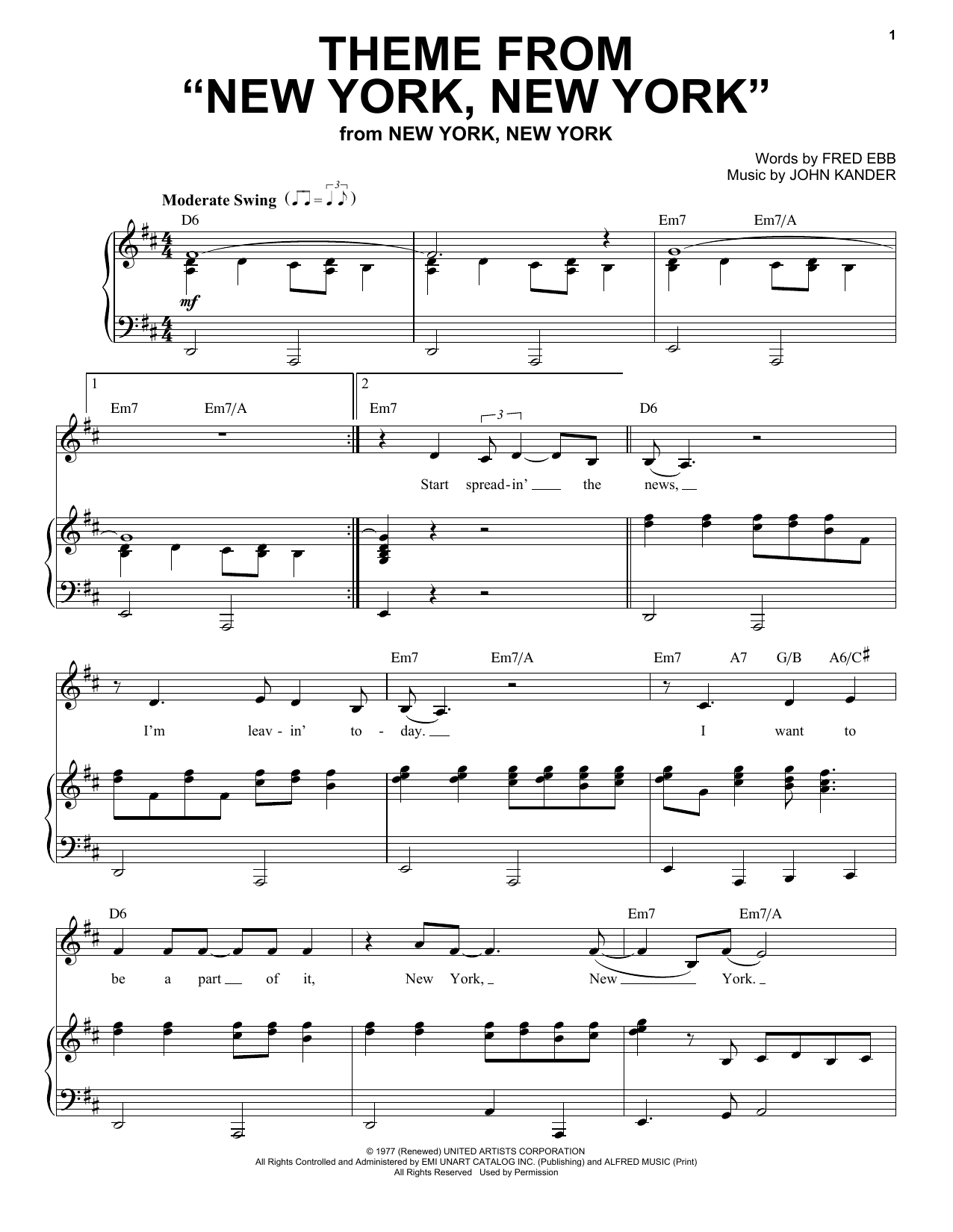 Theme From New York New York Sheet Music Direct