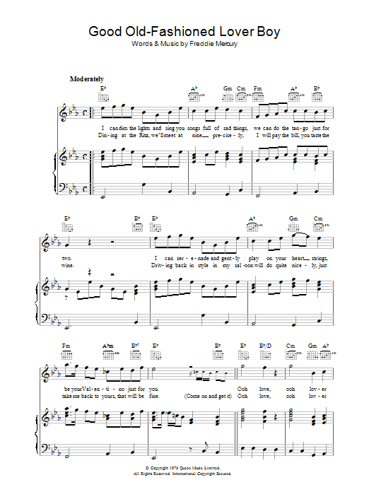 Good Old Fashioned Lover Boy | Sheet Music Direct