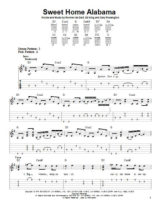 Guitar & bass tablature pdf transcribed by andy aledort. Sweet Home Alabama By Lynyrd Skynyrd Easy Guitar Tab Guitar Instructor