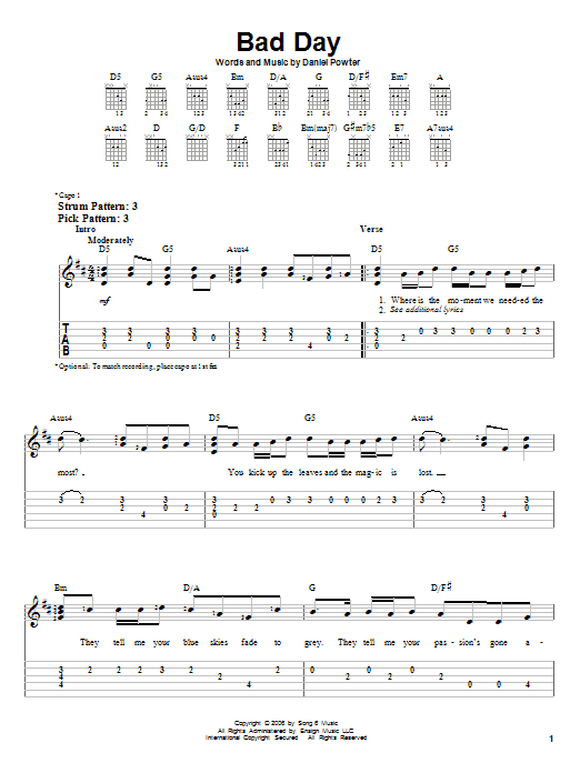 Bad Day Chords Home Sweet Home