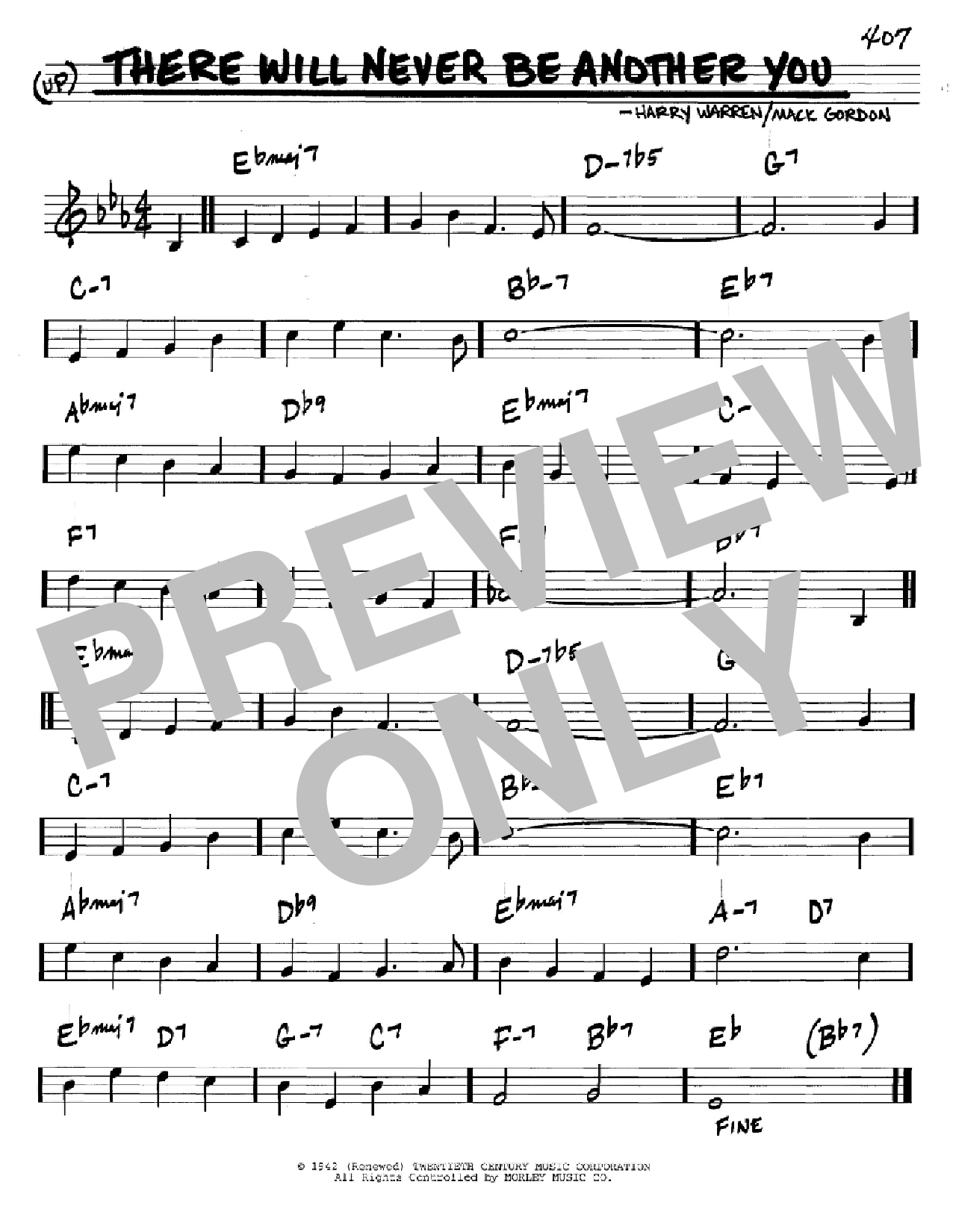 There Will Never Be Another You Sheet Music By Mack Gordon Real Book