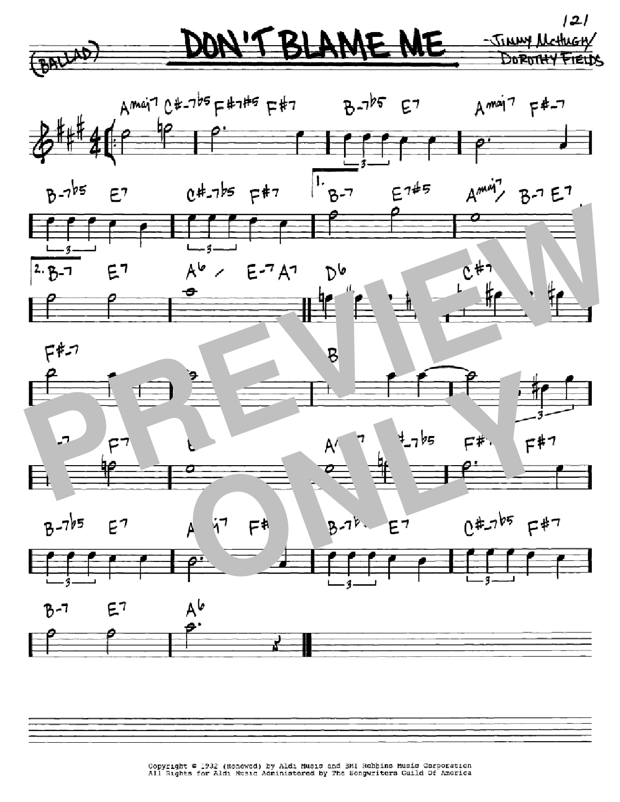 Don T Blame Me Sheet Music By Dorothy Fields Real Book