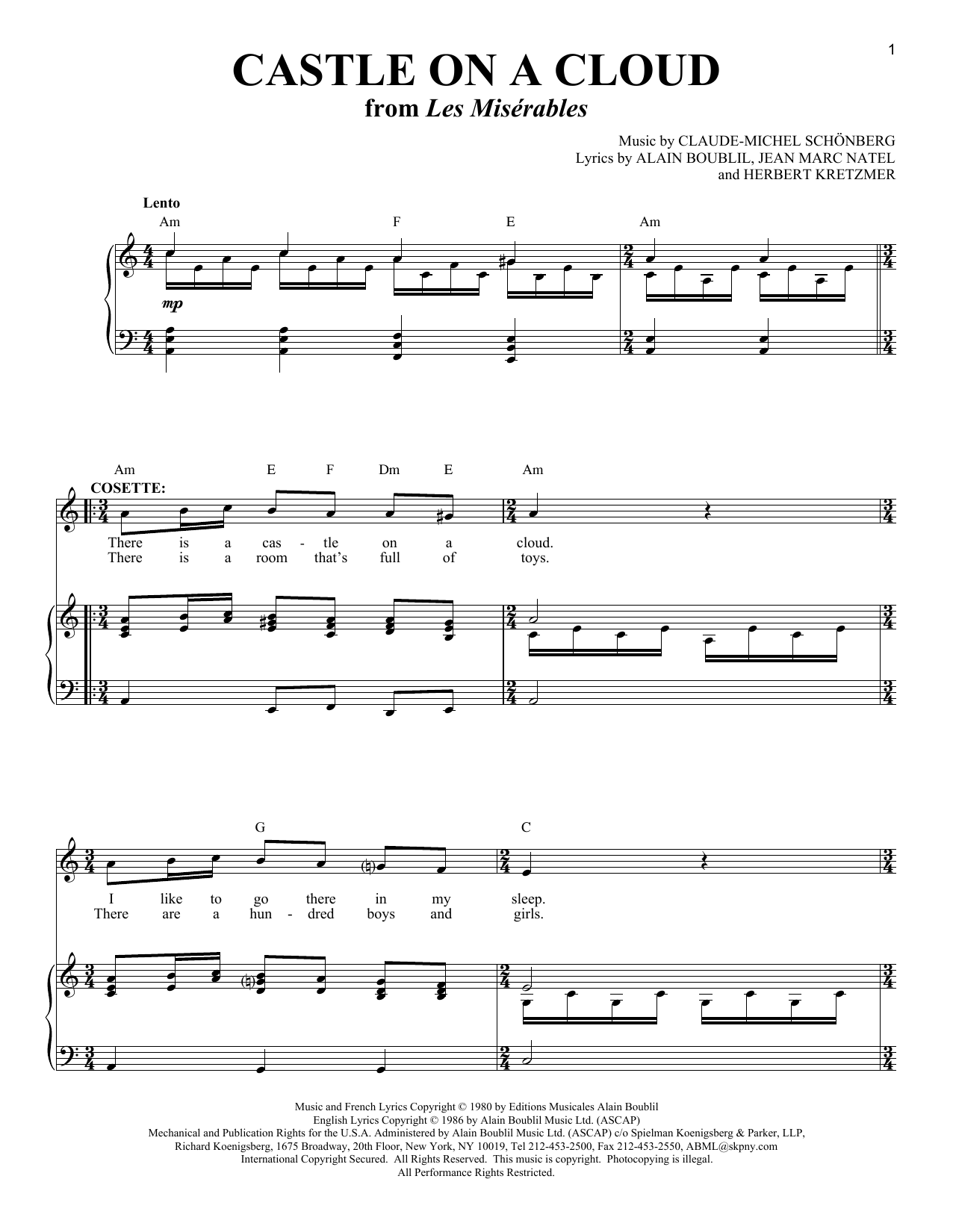 Castle On A Cloud From Les Miserables Sheet Music By
