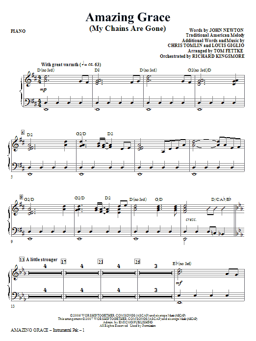 Solo Sheet Sax Tenor Amazing Music Grace