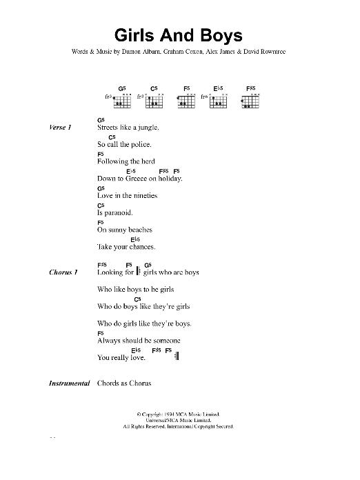 Girls And Boys by Blur  Guitar ChordsLyrics  Guitar