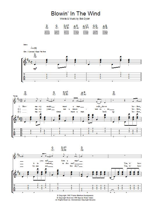 Blowin' In The Wind Sheet Music | Bob Dylan | Guitar Tab