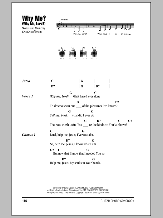 The song was premiered on october 15, 2021, accompanied by music video. Why Me? (Why Me, Lord?)   Sheet Music Direct