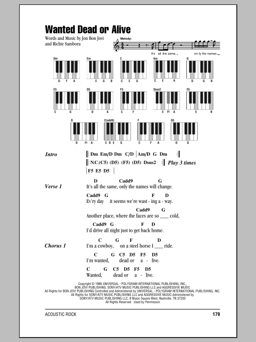 Wanted Dead Or Alive Lyrics And Chords : wanted, alive, lyrics, chords, Wanted, Alive, Partitions, Piano, Accords/Lyrics