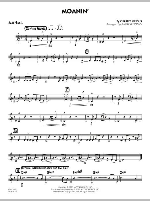 Moanin Alto Sax 1 Sheet Music Andrew Homzy Jazz Ensemble