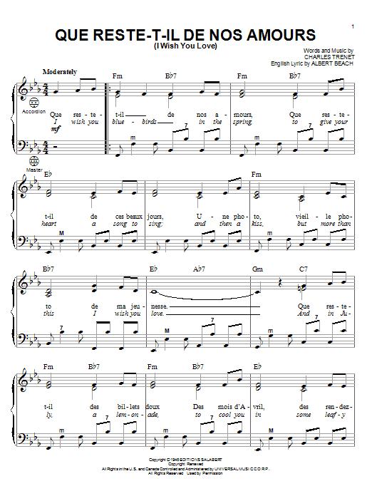 Que Reste T Il De Nos Amours : reste, amours, Reste-T-Il, Amours, Love), (Accordion), Print