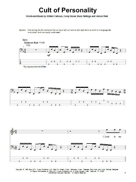 Cult Of Personality by Living Colour - Bass Tab - Guitar Instructor