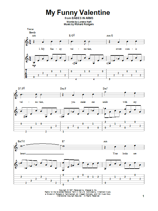 My Funny Valentine Guitar Tab By Rodgers Amp Hart Guitar