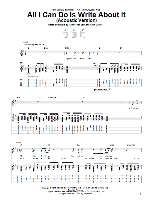 All I Can Do Is Write About It by Lynyrd Skynyrd - Guitar Tab - Guitar Instructor