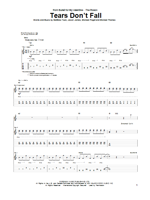 Tears Dont Fall Guitar Tab By Bullet For My Valentine