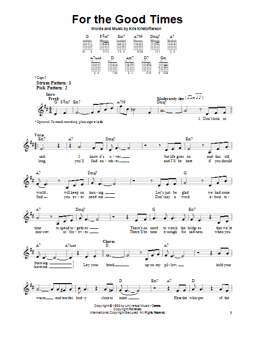 For The Good Times  Sheet Music Direct
