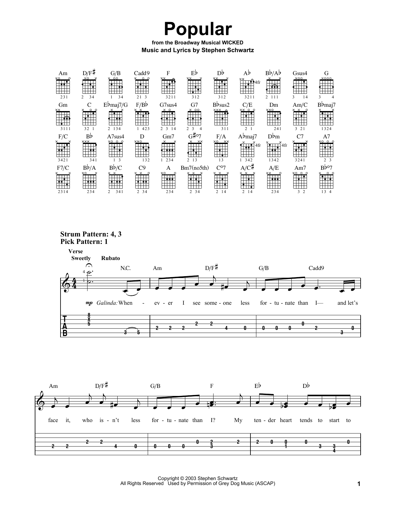 Popular From Wicked Sheet Music By Stephen Schwartz
