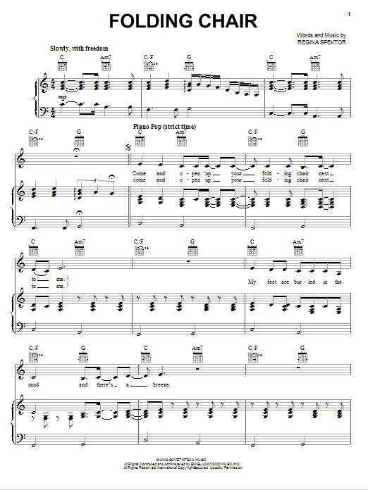 folding chair regina spektor lyrics girls papasan sheet music digital files to print licensed by merriam