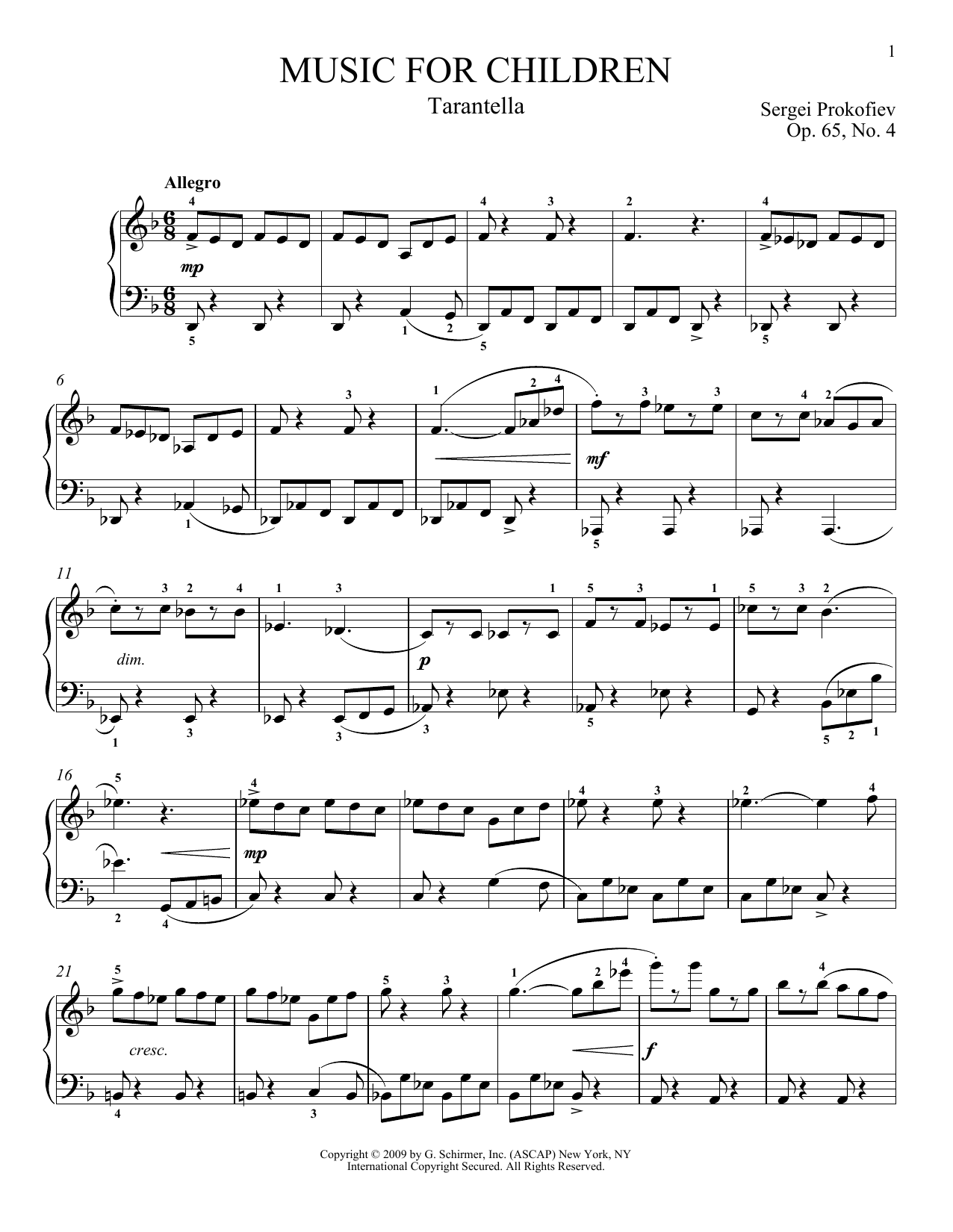 Tarantella sheet music by Sergei Prokofiev Piano  73508