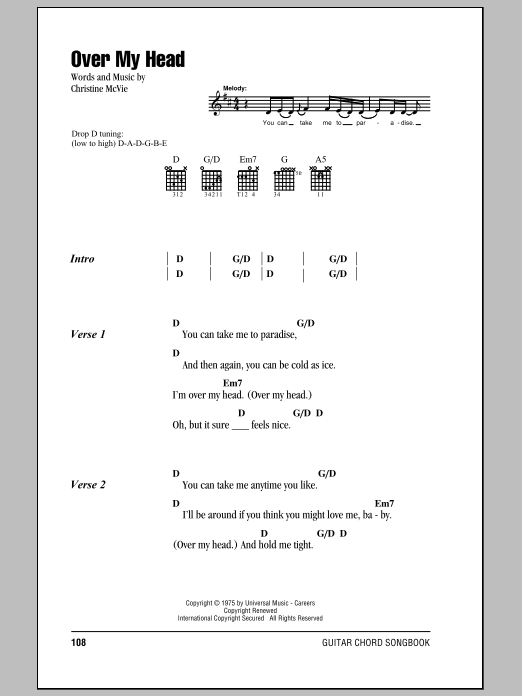 Over My Head by Fleetwood Mac - Guitar Chords/Lyrics - Guitar Instructor