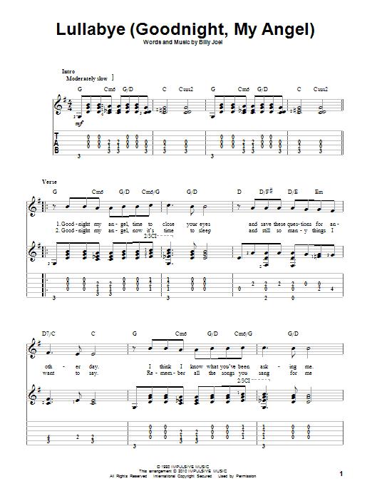Billy Joel Lullaby Sheet Music : billy, lullaby, sheet, music, Lullabye, (Goodnight,, Angel), Sheet, Music, Billy, Guitar