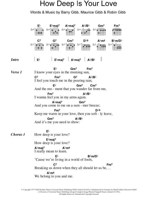 best How Deep Is Your Love Chords Easy image collection