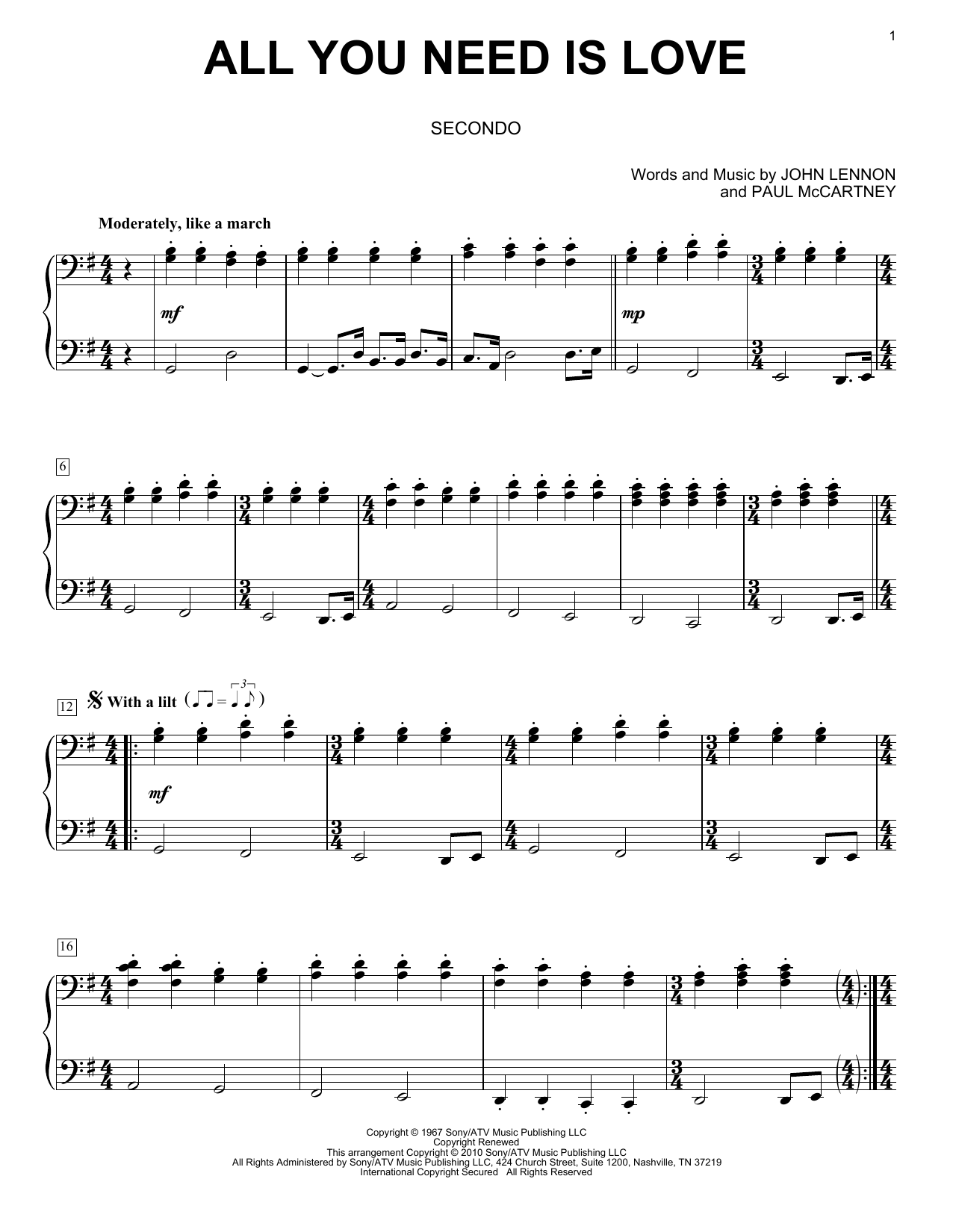 Music Trumpet Sheet All Need Love You