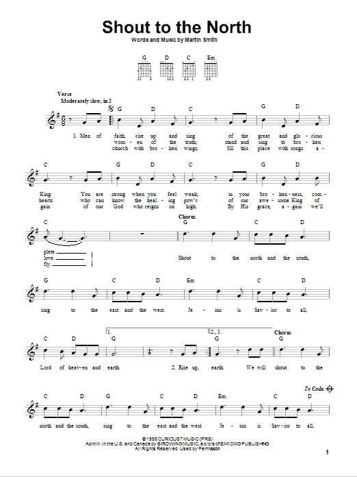 Shout To The North Sheet Music   Delirious?   Easy Guitar