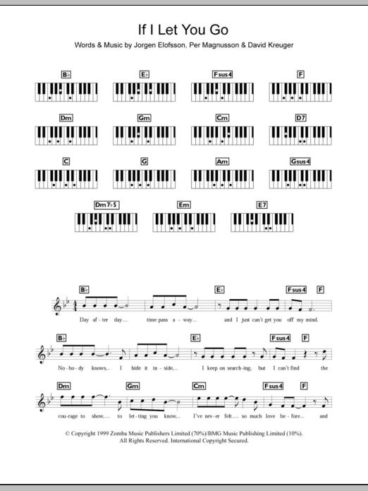 Chord If I Let You Go : chord, Sheet, Music, Westlife, Piano, Chords/Lyrics