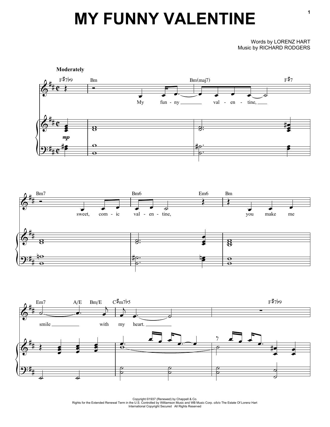 My Funny Valentine Sheet Music By Frank Sinatra Piano