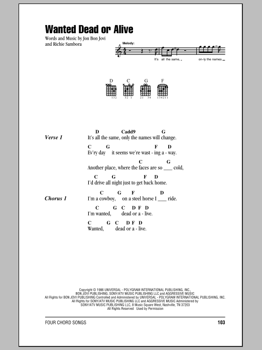 Wanted Dead Or Alive Lyrics And Chords : wanted, alive, lyrics, chords, Sheet, Music, Digital, Files, Print, Licensed