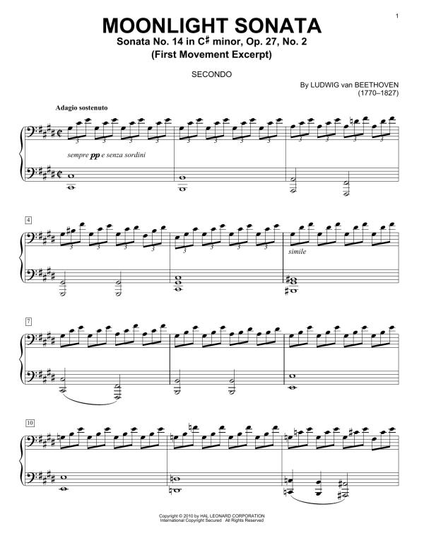 Piano Sonata No 14 In C Minor quotMoonlightquot Op 27 No