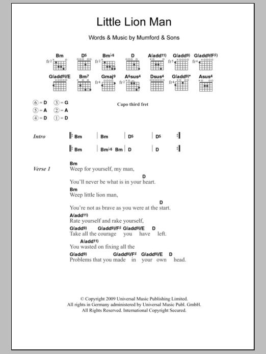 Little Lion Man Ukulele Chords : little, ukulele, chords, Little, Sheet, Music, Mumford, Guitar, Chords/Lyrics
