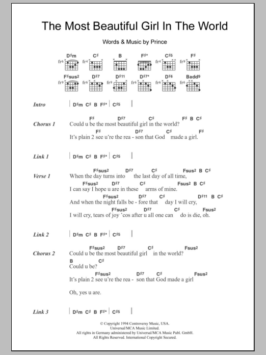 Beautiful Girl Chord : beautiful, chord, Beautiful, World, Prince, Guitar, Chords/Lyrics, Instructor