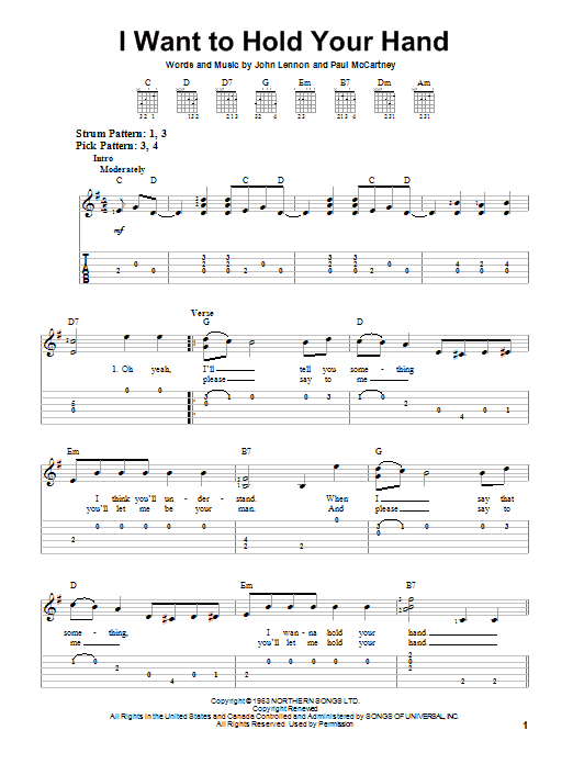 I Wanna Hold Your Hand Chord : wanna, chord, Beatles, Guitar, Instructor