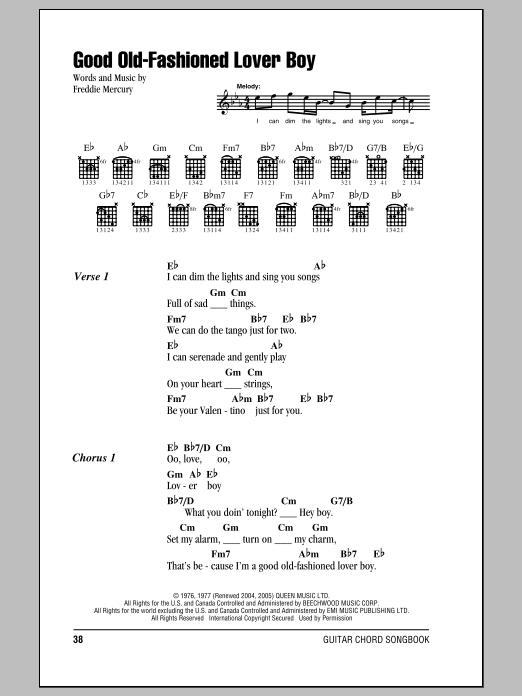 Good Old-Fashioned Lover Boy sheet music by Queen (Lyrics & Chords – 86215)
