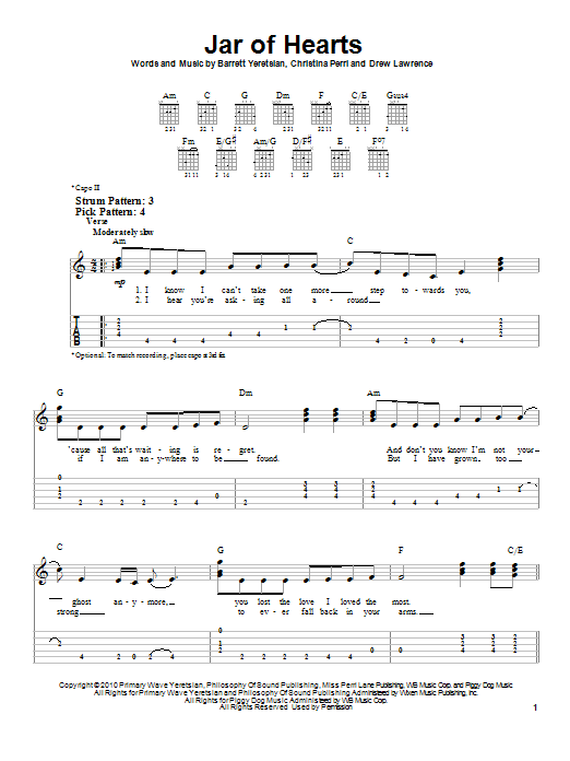 Jar Of Hearts Uke Chords : hearts, chords, Hearts, (Easy, Guitar, Print, Sheet, Music