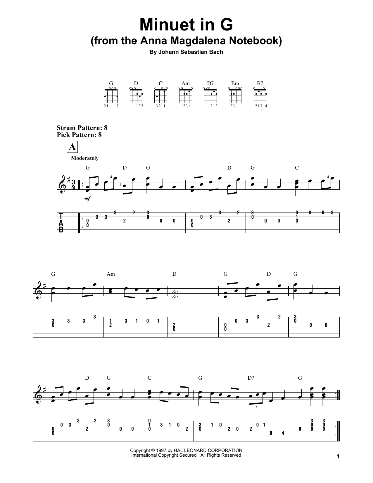 Minuet In G Sheet Music By J S Bach Easy Guitar Tab