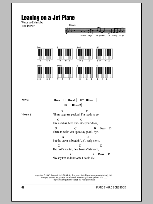 Leaving On A Jet Plane Sheet Music Direct
