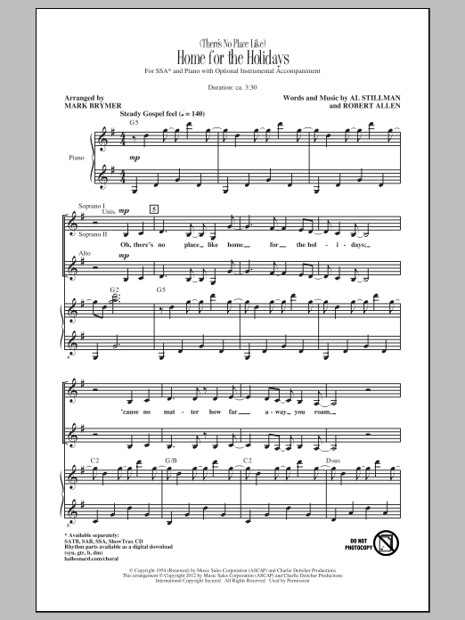 Oh There's No Place Like Home For The Holidays : there's, place, holidays, (There's, Place, Like), Holidays, Choir), Print