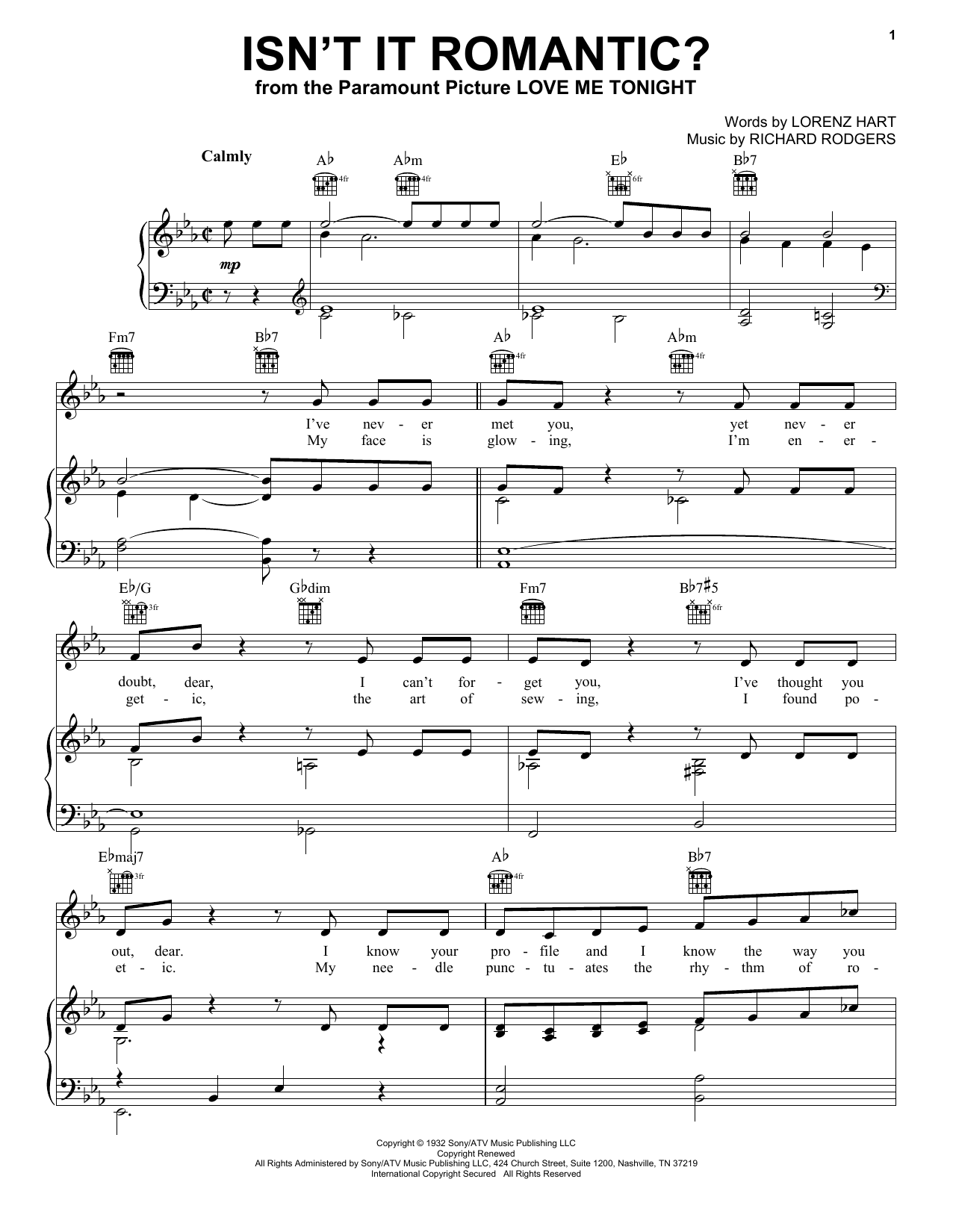Isnt It Romantic Sheet Music By Rodgers Amp Hart Piano
