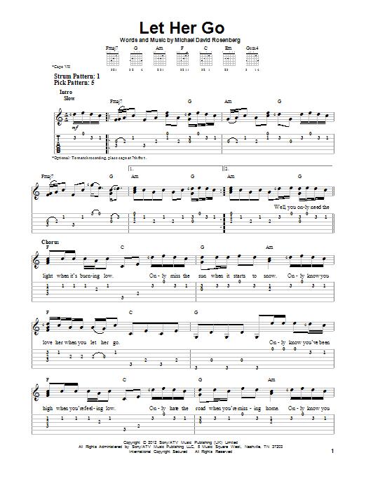 Let Her Go sheet music by Passenger (Easy Guitar Tab – 152794)