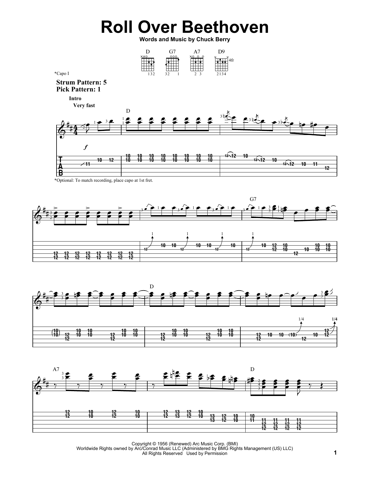 Roll Over Beethoven by Chuck Berry - Easy Guitar Tab - Guitar Instructor