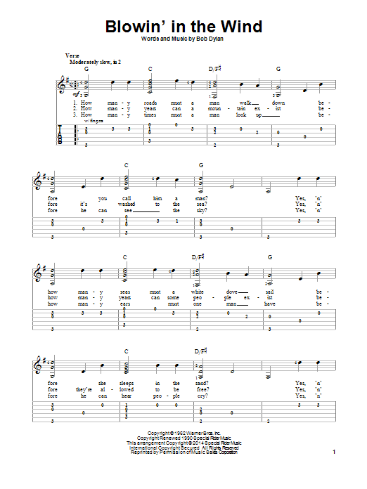 Blowin' In The Wind | Sheet Music Direct