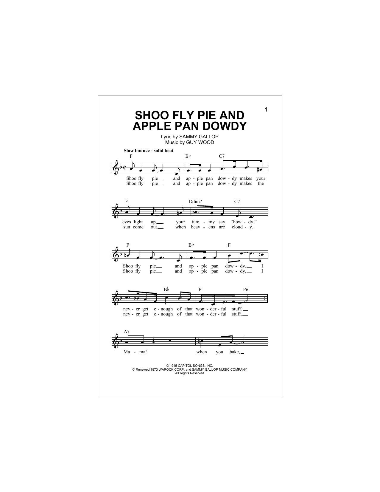 Shoo Fly Pie And Apple Pan Dowdy Sheet Music