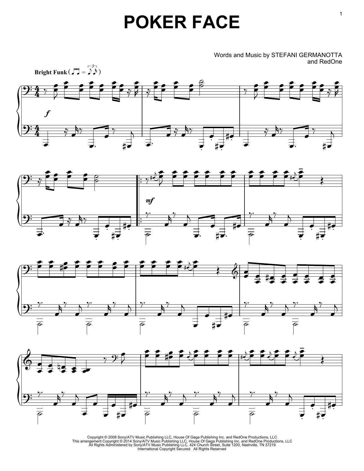Face Sheet Music By Lady Gaga Piano