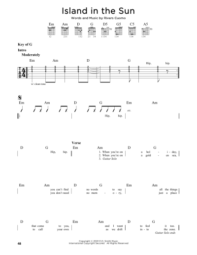 Island In The Sun by Weezer - Guitar Lead Sheet - Guitar ...
