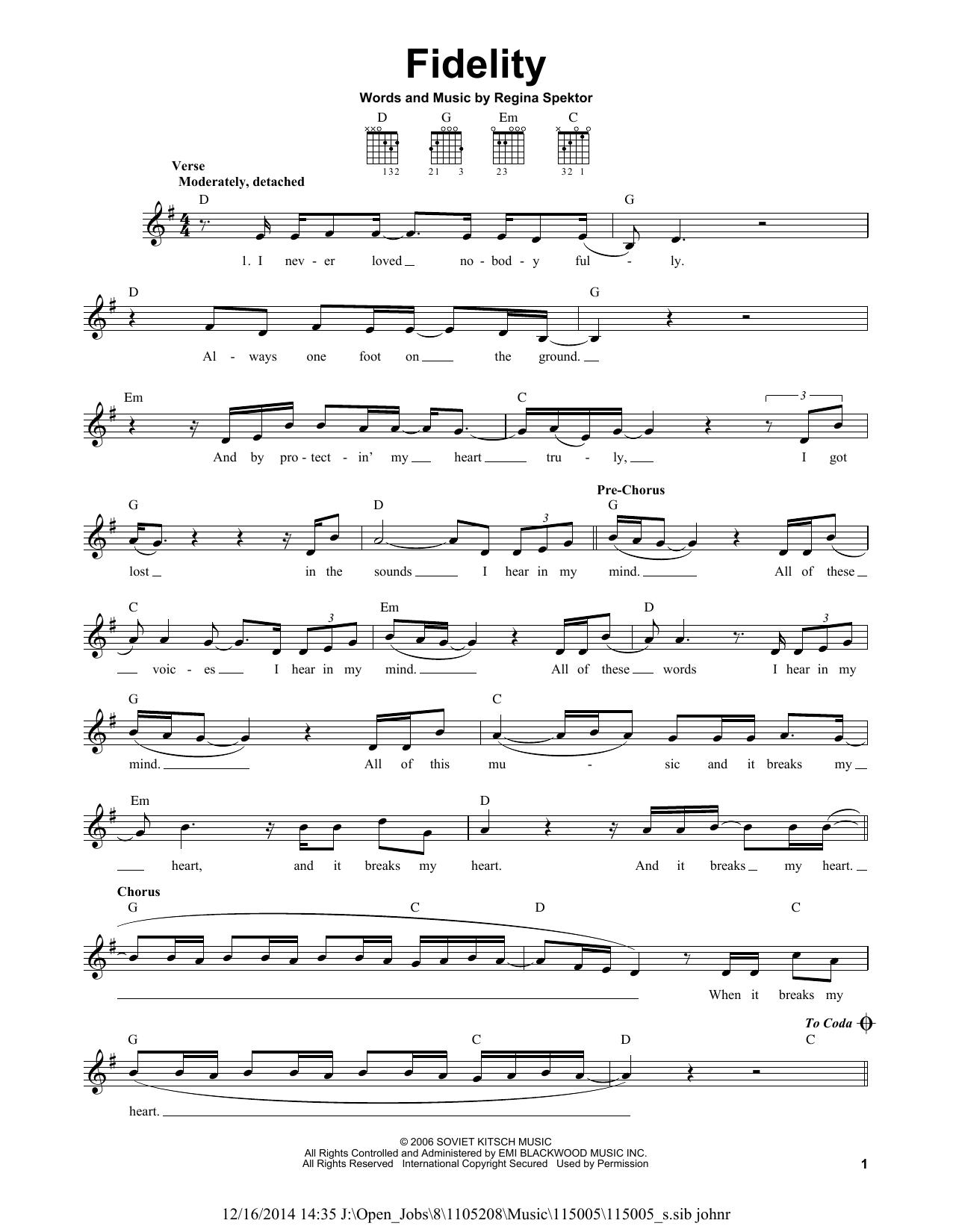 folding chair regina spektor chords traditional wingback fidelity sheet music direct