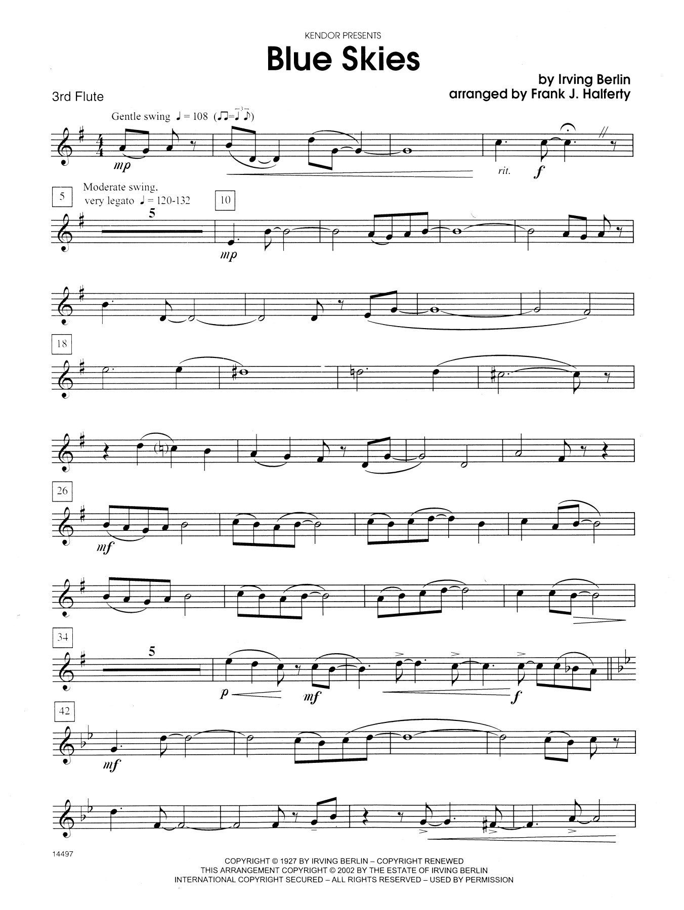 Blue Skies Sax Quartet Sheet Music Free